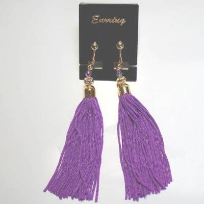 房飾りイヤリング(ピアス)紫紺色