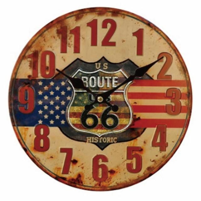 幅34cm壁掛け時計 ルート66-アメリカ レトロ調ア...
