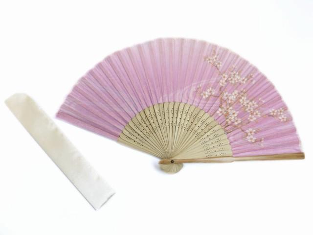 女性レディース用シルク扇子&扇子袋セット薄紫地...