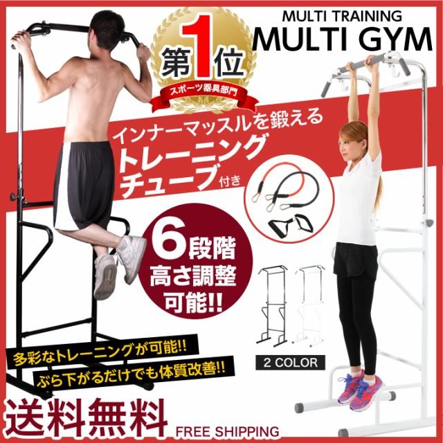 ぶら下がり健康器 マルチジム トレーニングチューブ付き 懸垂 ぶら下がり 懸垂器具 筋トレ 送料無料