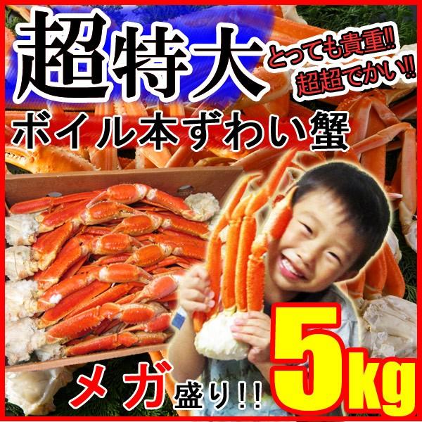 ずわい蟹5kg 超特大 身入り抜群♪3〜5Lサイズ ...