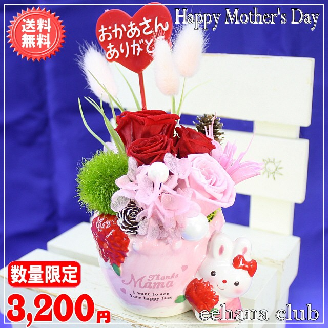 母の日★ラビットプリザ【New鮮やかレッド】3,200...