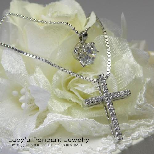 十字架クロス&一粒石 シルバー 2連 ペンダント ...