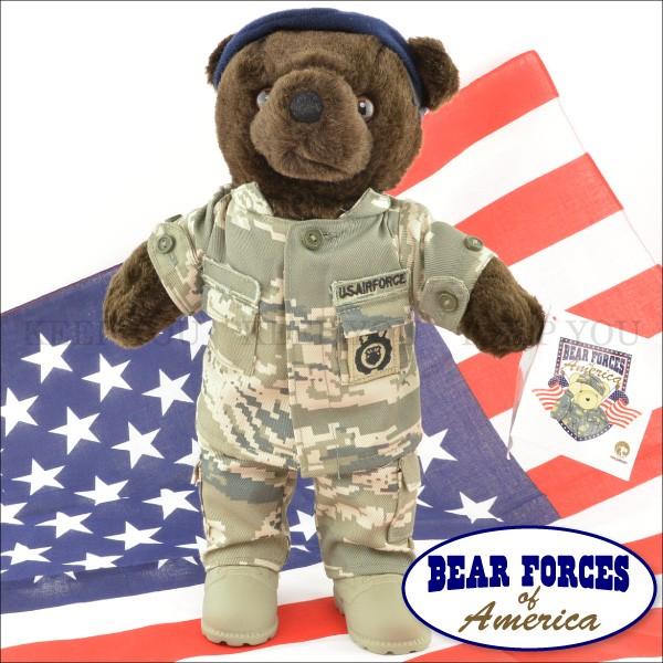 テディベア アメリカ 空軍制服 迷彩柄 約25cm こ...