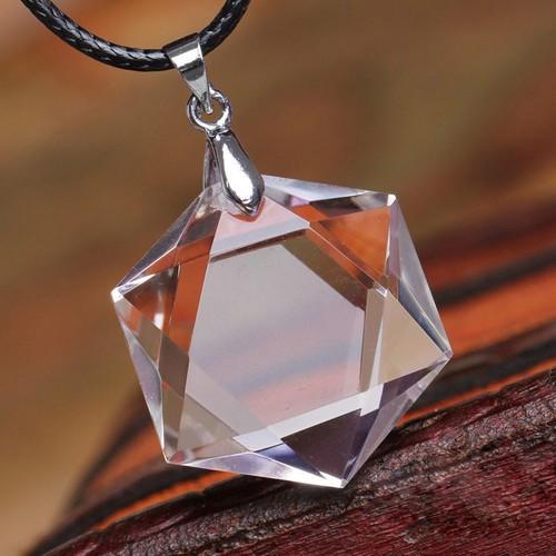 天然石 透明 天然水晶 六芒星(ダビデの星)ペン...