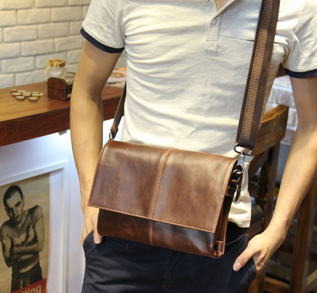 メンズショルダーバッグ/男士用鞄/レザーカバン/...