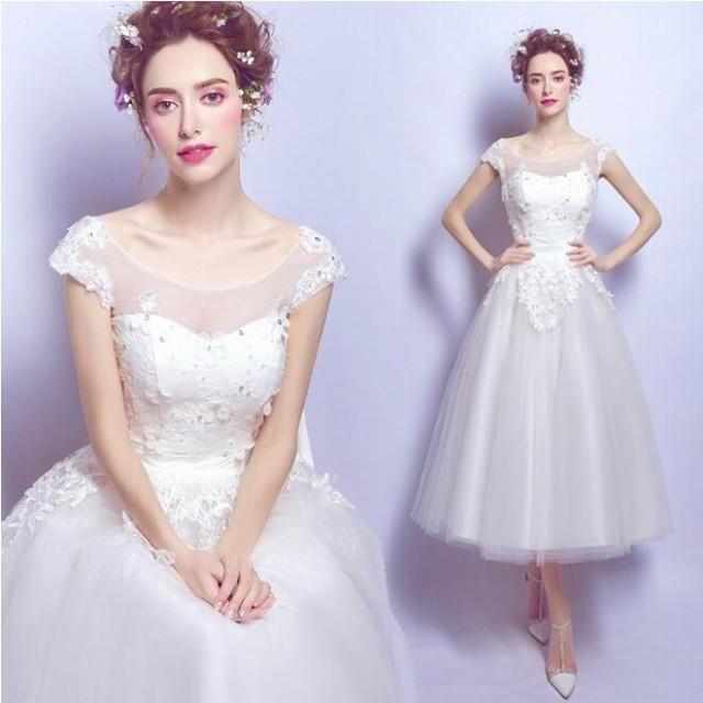 3eb929bf0badb ウェディングドレス ミモレ丈 カラードレス 白 ウエディングドレス 花嫁 二次会 ドレス 結婚式 コンサート 演奏