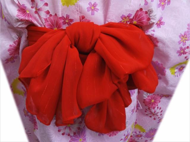 子供用ラメ兵児帯赤色 子供キッズ女の子浴衣