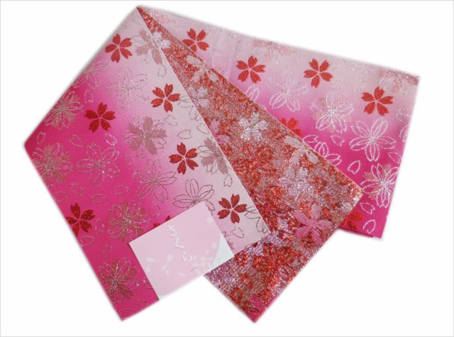グラデーションぼかし半巾帯半幅帯濃ピンクラメ桜...