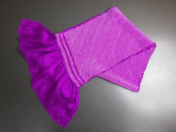 正絹総絞り帯揚げ帯上げ紫色 振袖成人式に