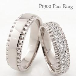 プラチナ ペアリング 結婚指輪 Pt900 幅広 天然 ...
