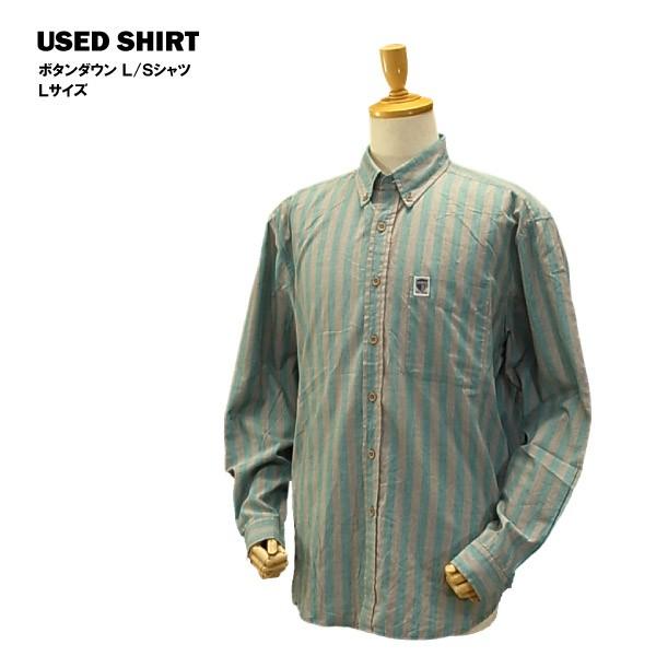 USED ボタンダウン L/Sシャツ グリーン&グレース...
