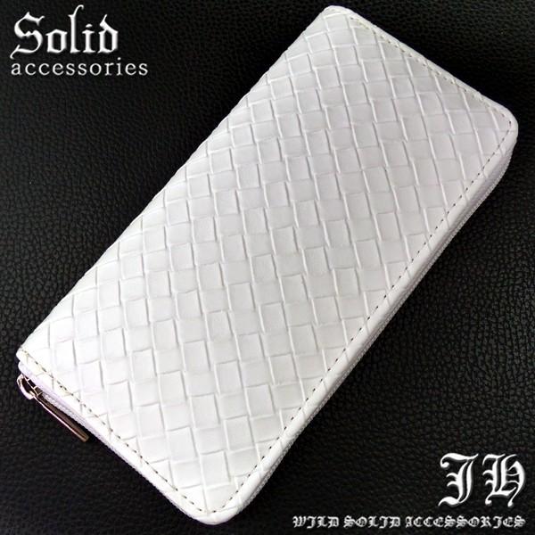 5249bac6716c ラウンドファスナー 編込み ホワイト 白 ウォレット 財布 プレゼント シンプル 【sai64】