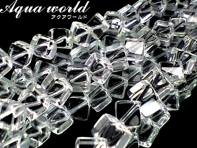 天然石ビーズ 水晶8ミリ キューブ 1連 約40セ...