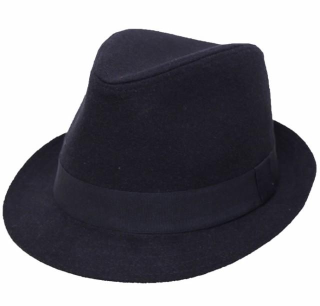 シンプルメルトン中折れハット★ブラック 帽子 メ...