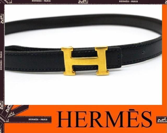 あす着 HERMES エルメス ミニHベルト リバーシブル ボックスカーフ 60 ブラック ダークブラウン ゴールド金具 旧I刻 レディース