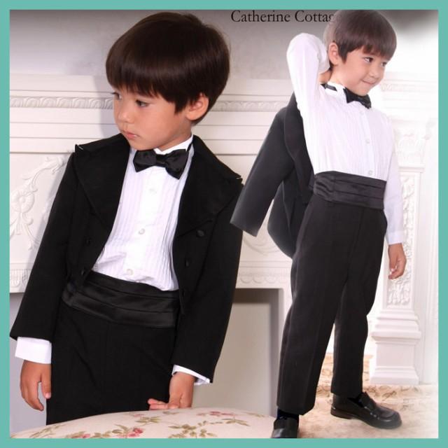 b089d0427a6f3 タキシード キッズスーツ 子供 フォーマル 男の子 結婚式 キッズフォーマル キッズ燕尾服5点フルセット