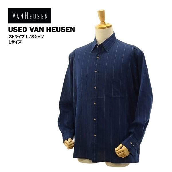 USED ヴァン・ヒューゼン L/S シャツ ホワイト&...