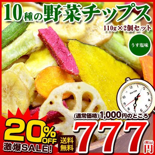 【お盆SALE】送料無料 10種の野菜チップス 110g×...