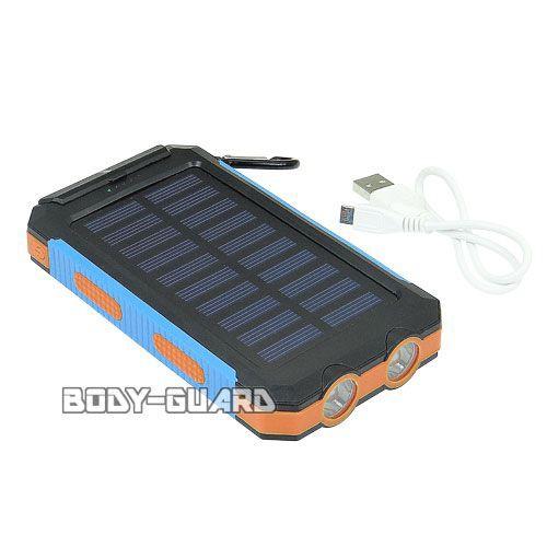 ソーラー式 USB充電池 LEDライト搭載 10000mAh...