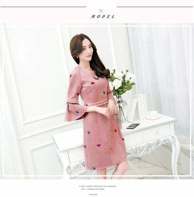 可愛いドレス/ラウンドネックワンピース/七分袖エ...