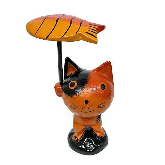 木製 魚の傘を持ったバリネコ君 ミケ [H.14.5cm]/...