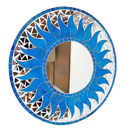 壁掛け バリ モザイクミラー 鏡 M D.40cm 丸型 ス...