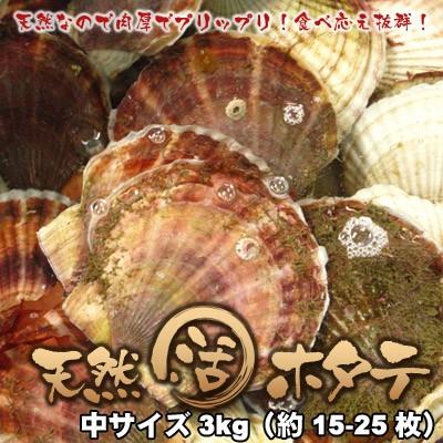 活ホタテ 北海道 天然ほたて 中サイズ 3kg 送料無...