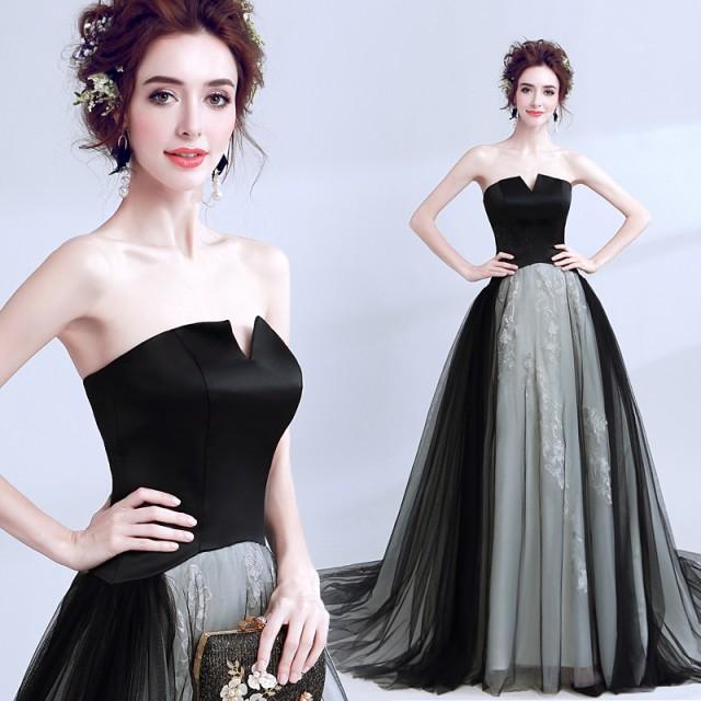ヨーロッパ風 ブラック ウェディングドレス ロン...