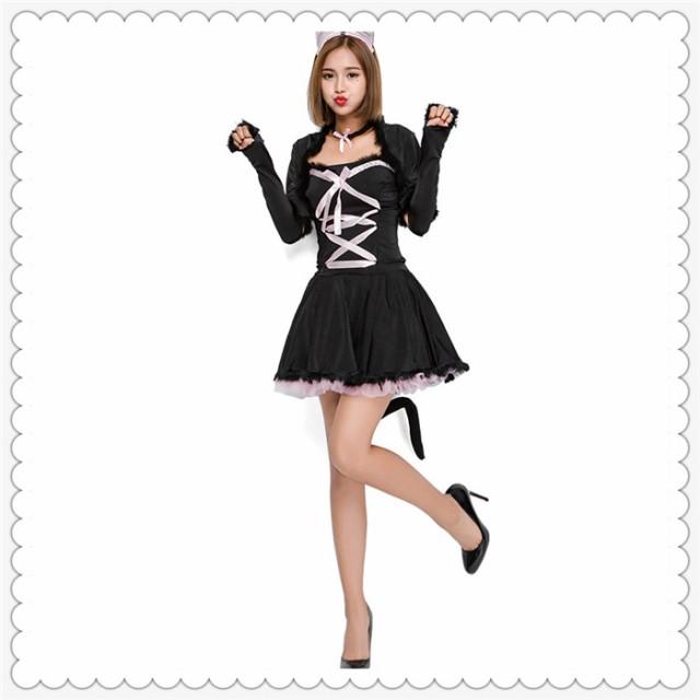 【送料無料】ハロウィン 黒猫 コスチューム 猫 動...