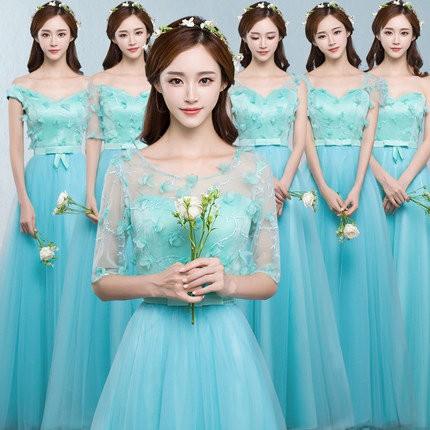 6色6タイプ ブライズメイドドレス パーティード...