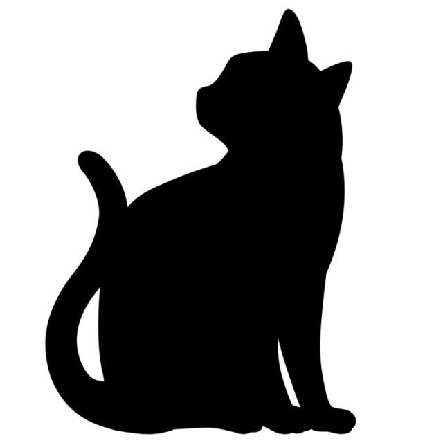 【静かにたたずむ猫シルエット】 間接照明 黒ネコ...