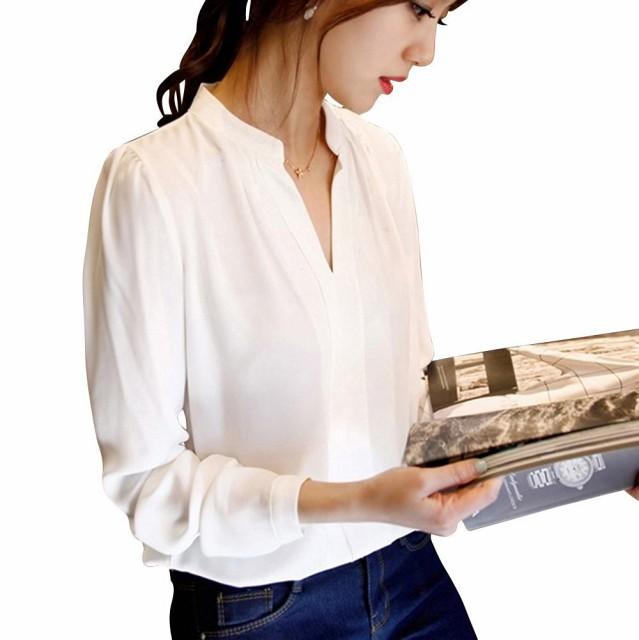 【送料無料】 ホワイト シャツ ブラウス ロング V...