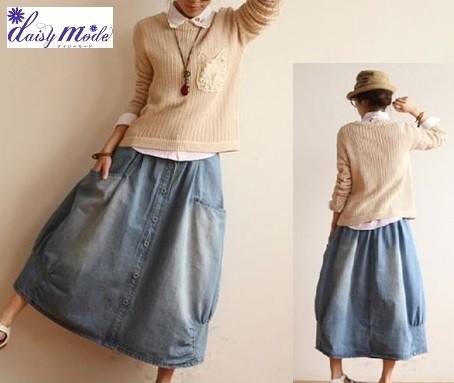 デニムのマキシスカートロングスカート スカート...