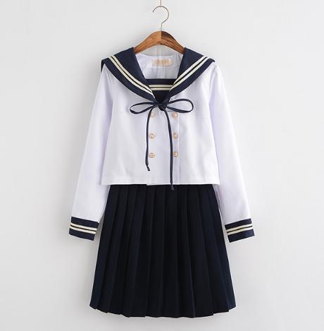 2点送料無料  長袖シャツ+ミニスカート+リボン+靴下4点セット セーラーワンピース 制服 海軍風  学園風