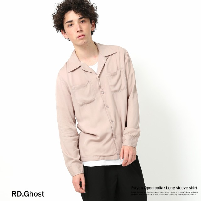 開襟シャツ メンズ オープンカラーシャツ レーヨ...