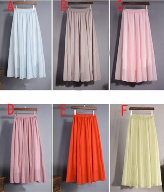 スカート フレアスカート 全24色シフォンロング ...