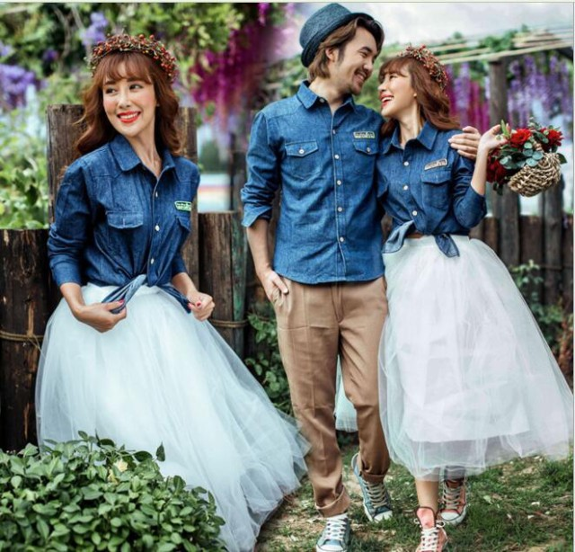 新婚旅行ハネムーン ウェディングドレス レディース メンズ新婚夫婦ペアルック写真撮影チュールスカートとデニムシャツの上下セット