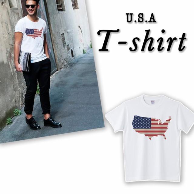 USA 国旗 メンズ レディース ペア デザインTシャ...
