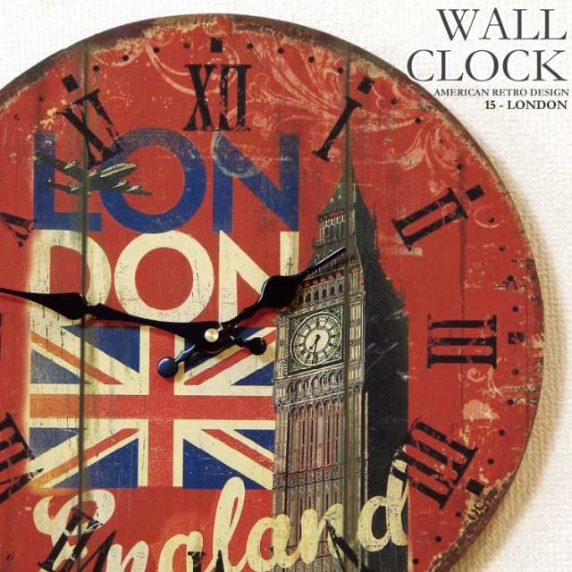 幅34cm壁掛け時計ロンドン塔レトロ調アンティーク...