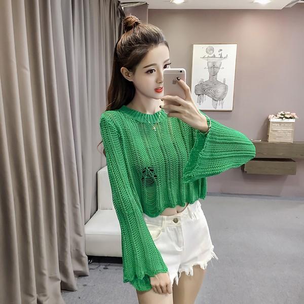 夏 新しい 韓国 緩い 長袖のセーター 半袖 ...