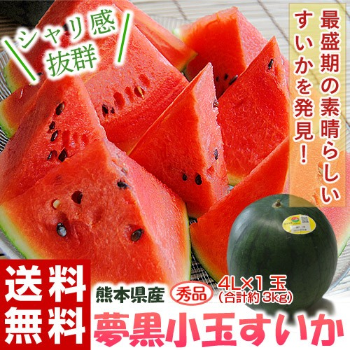 《送料無料》 熊本県産「夢黒小玉すいか」4L×1...