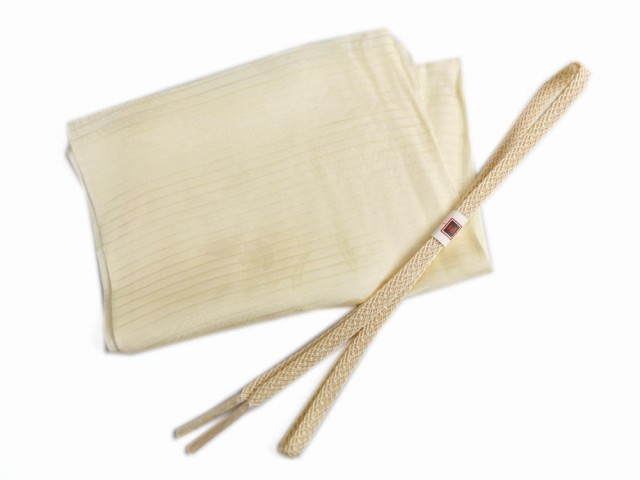 絽(夏用)の正絹帯締め帯揚げセット薄クリーム色...