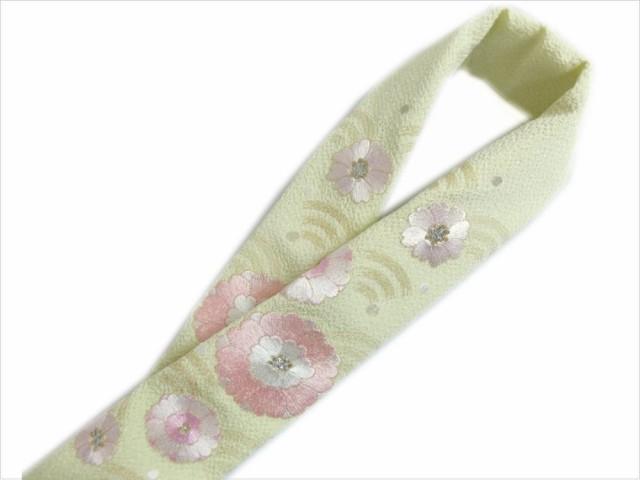 刺繍半衿半襟薄黄緑色地牡丹小花ピンク 振袖成人...