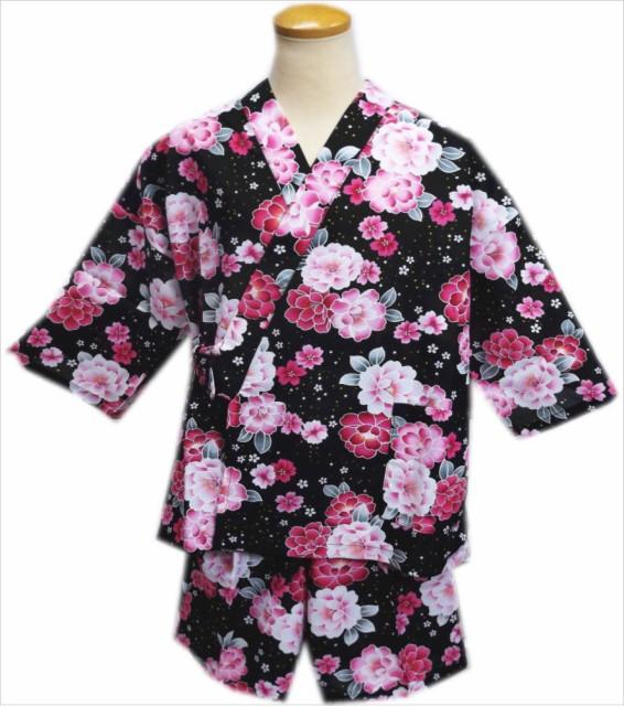 夏祭&部屋着に 女性レディース用甚平じんべい黒...