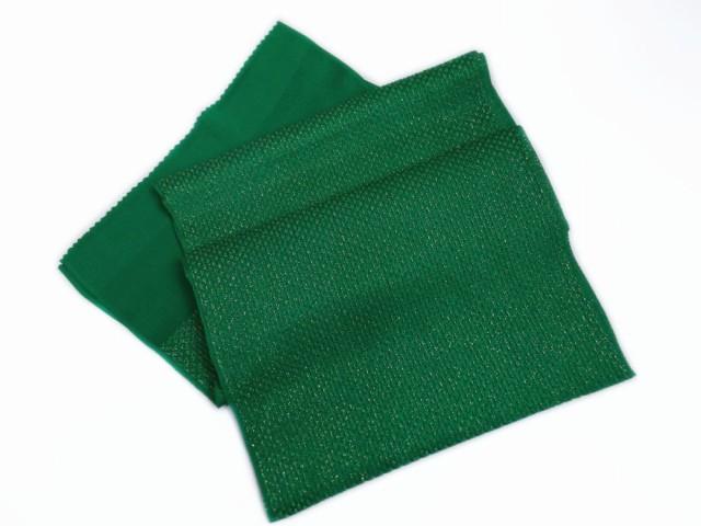 金通しふくれ織正絹帯揚げ帯上げ緑色 振袖成人式...