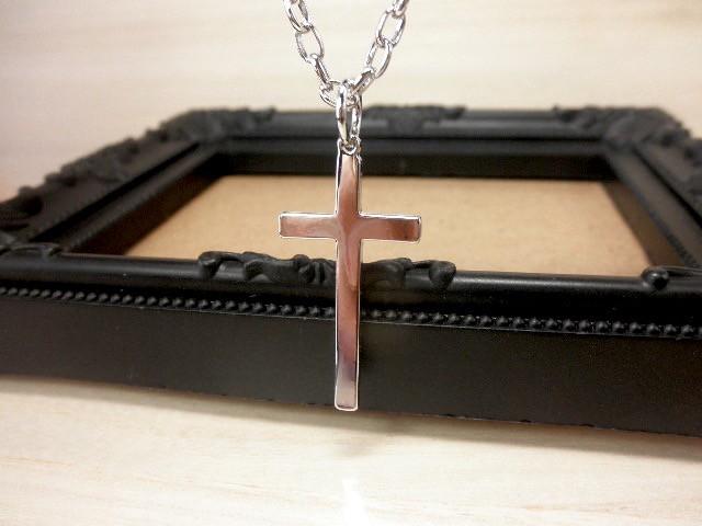 ネックレス クロス 十字架 男女OK ロック シルバ...