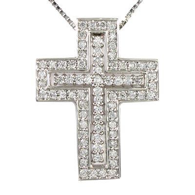 クロス 十字架 ダイヤモンド ネックレス ペンダン...