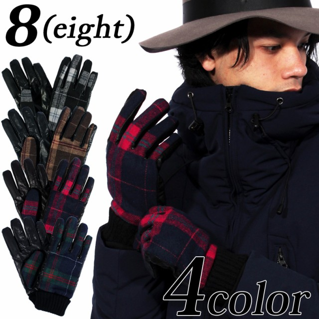 手袋 メンズ チェック ボア 全4色 新作 てぶくろ ...