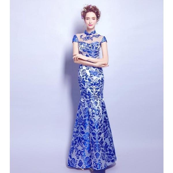 ウェディングドレス 中国風ロングパーティードレ...